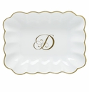 Herend Porcelain Oblong Dish with D Monogram 7.25L X 5.5W