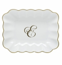 Herend Porcelain Oblong Dish with E Monogram 7.25L X 5.5W