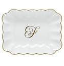 Herend Porcelain Oblong Dish with F Monogram 7.25L X 5.5W