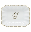 Herend Porcelain Oblong Dish with G Monogram 7.25L X 5.5W