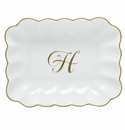 Herend Porcelain Oblong Dish with H Monogram 7.25L X 5.5W