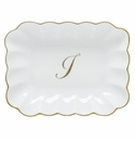 Herend Porcelain Oblong Dish with I Monogram 7.25L X 5.5W
