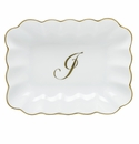 Herend Porcelain Oblong Dish with J Monogram 7.25L X 5.5W