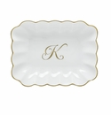 Herend Porcelain Oblong Dish with K Monogram 7.25L X 5.5W