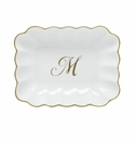 Herend Porcelain Oblong Dish with M Monogram 7.25L X 5.5W