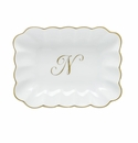 Herend Porcelain Oblong Dish with N Monogram 7.25L X 5.5W