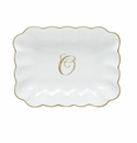 Herend Porcelain Oblong Dish with O Monogram 7.25L X 5.5W