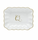 Herend Porcelain Oblong Dish with Q Monogram 7.25L X 5.5W
