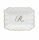 Herend Porcelain Oblong Dish with R Monogram 7.25L X 5.5W