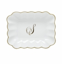 Herend Porcelain Oblong Dish with S Monogram 7.25L X 5.5W