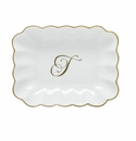 Herend Porcelain Oblong Dish with T Monogram 7.25L X 5.5W