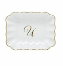 Herend Porcelain Oblong Dish with U Monogram 7.25L X 5.5W