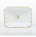 Herend Porcelain Oblong Dish with W Monogram 7.25L X 5.5W