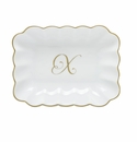 Herend Porcelain Oblong Dish with X Monogram 7.25L X 5.5W
