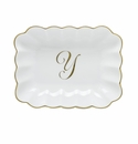 Herend Porcelain Oblong Dish with Y Monogram 7.25L X 5.5W