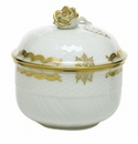 Herend Porcelain Princess Victoria Gray Covered Sugar with Rose (6 Oz) 4H - Gray