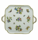 Herend Porcelain Queen Victoria Square Tray with Handles 12.75L X 12.75W