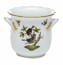 Herend Porcelain Rothschild Bird Mini Cachepot with Handles 4.75L X 3.75H