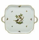 Herend Porcelain Rothschild Bird Square Tray with Handles 12.75L X 12.75W