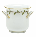 Herend Porcelain Rothschild Garden Mini Cachepot with Handles 4.75L X 3.75H