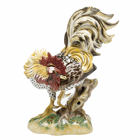Herend Porcelain Rowdy Rooster 8L X 10.5H