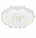 Herend Porcelain Scalloped Tray with A Monogram 5.5L
