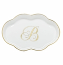 Herend Porcelain Scalloped Tray with B Monogram 5.5L