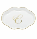Herend Porcelain Scalloped Tray with E Monogram 5.5L