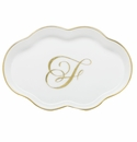 Herend Porcelain Scalloped Tray with F Monogram 5.5L