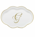 Herend Porcelain Scalloped Tray with G Monogram 5.5L