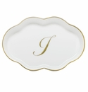 Herend Porcelain Scalloped Tray with I Monogram 5.5L
