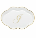 Herend Porcelain Scalloped Tray with J Monogram 5.5L