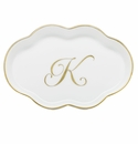 Herend Porcelain Scalloped Tray with K Monogram 5.5L