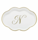 Herend Porcelain Scalloped Tray with N Monogram 5.5L