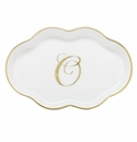 Herend Porcelain Scalloped Tray with O Monogram 5.5L