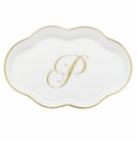 Herend Porcelain Scalloped Tray with P Monogram 5.5L