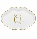 Herend Porcelain Scalloped Tray with Q Monogram 5.5L