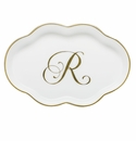 Herend Porcelain Scalloped Tray with R Monogram 5.5L