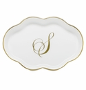Herend Porcelain Scalloped Tray with S Monogram 5.5L