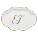 Herend Porcelain Scalloped Tray with T Monogram 5.5L
