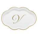 Herend Porcelain Scalloped Tray with V Monogram 5.5L