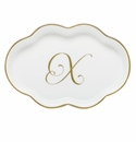 Herend Porcelain Scalloped Tray with X Monogram 5.5L