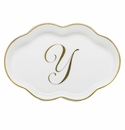 Herend Porcelain Scalloped Tray with Y Monogram 5.5L