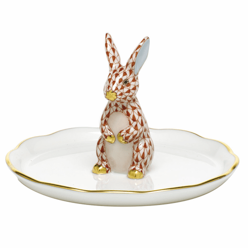 Herend Porcelain Shaded Rust Bunny Ring Holder 2.25H X 4D