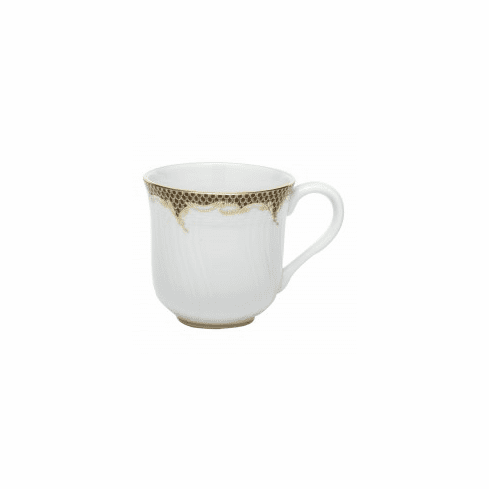 Herend Porcelain White with Brown Border Mug (10 Oz) 3.5H - Brown