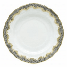 Herend Porcelain White with Gray Border Bread And Butter Plate 6D - Gray