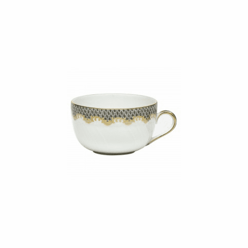 Herend Porcelain White with Gray Border Canton Cup (6 Oz) - Gray