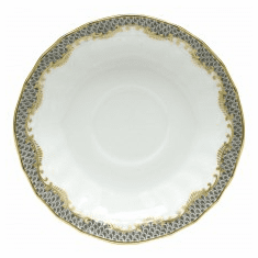 Herend Porcelain White with Gray Border Canton Saucer 5.5D - Gray