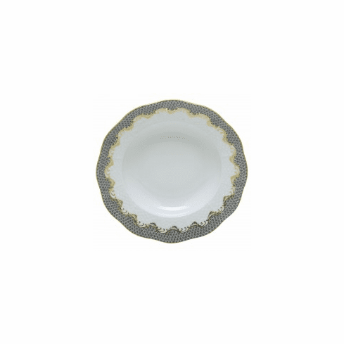 Herend Porcelain White with Gray Border Dessert Plate 8.25D - Gray