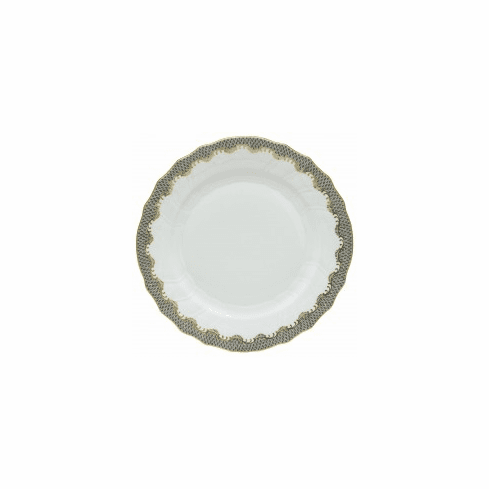 Herend Porcelain White with Gray Border Dinner Plate 10.5D - Gray